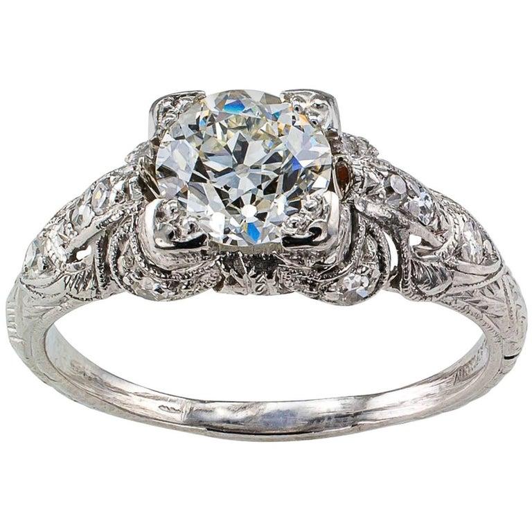 1930s Old European-Cut 1.05 Carat Diamond Engagement Ring