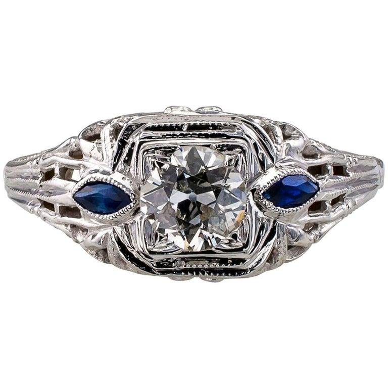 1930s Art Deco Old European Cut 0.42 Carat Diamond Engagement Ring