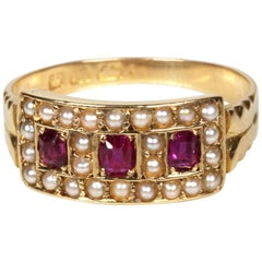 Circa 1890 Antique Ruby Seed Pearl 18 Karat Gold Dress Engagement Band Ring