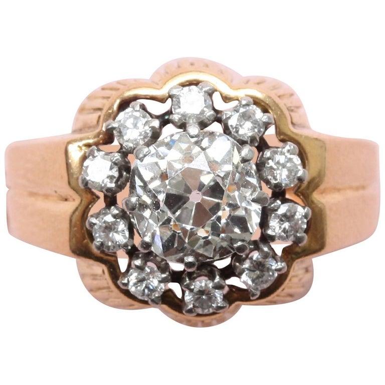 Henri Lesieur Art Deco Diamond Cluster Ring