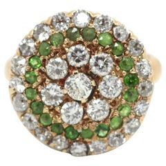 1920's Demantoid Garnet and White Diamond Cluster Cocktail Ring