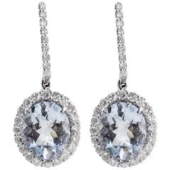 Luise Aquamarine and Diamond Dangle Earrings