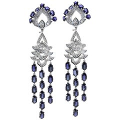 Luise Blue Sapphire and Diamond Dangle Earrings