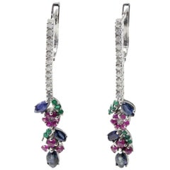 Luise Diamond Ruby Emerald and Blue Sapphire Dangle Earrings