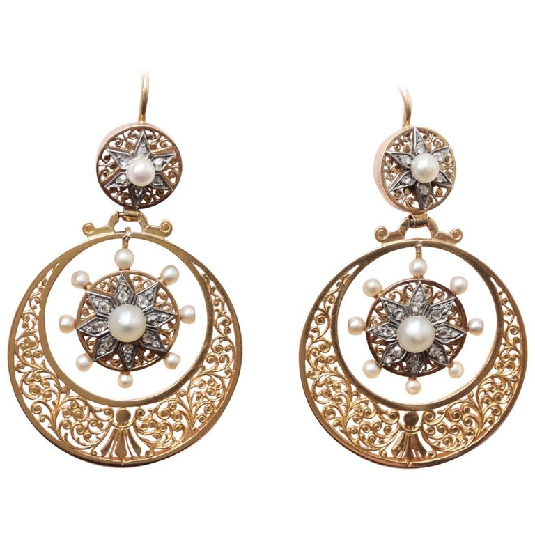 Gold Silver Pearl and Rose Cut Diamond Circle Gold Earrings For Sale