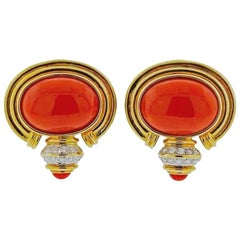 Red Coral Cabochon Diamond Gold Earrings