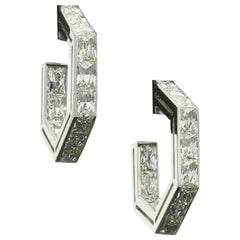 Amy Burton Fine Jewelry French-Cut Diamond Geometric Hoop Earrings