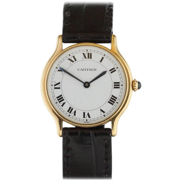 Cartier Yellow Gold Manual Wind Wristwatch, circa 1980s 1