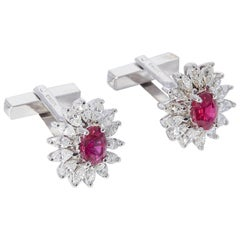 Oval Ruby and Marquise Diamond Cufflinks, circa 1980