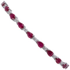 Pear Shape Ruby and Diamond Bracelet