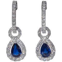 Pear Shape Sapphire and Diamond Dangle Earrings