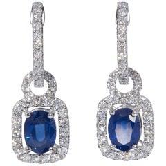 Sapphire and Diamond Hoop Dangle Earrings 3.92 Carat