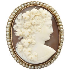 Victorian Shell Cameo of Flora