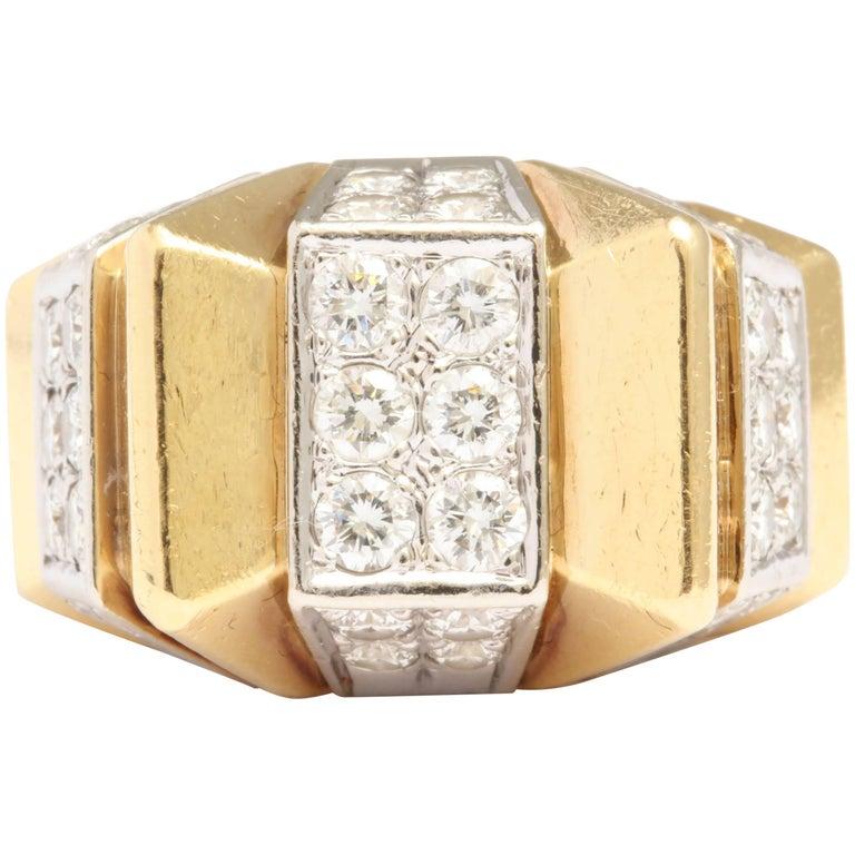 Diamond Gold Architectural Zig-Zag Ring