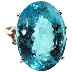 25.16 Carat Oval Blue Aquamarine Sterling Silver Ring