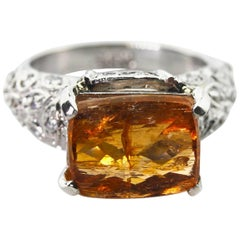 Gemjunky Spectacular 9.47 Ct Imperial Topaz Antique Setting Silver Ring