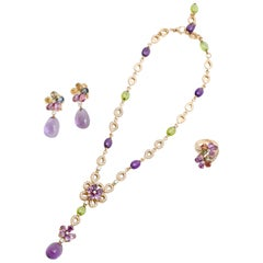 Bulgari Bvlgari  Diamond and Color Stone Necklace Earring and Ring Set