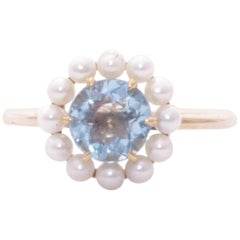 Mid-Century 14 Karat Yellow Gold Aquamarine and Seed Pearl Conversion Ring