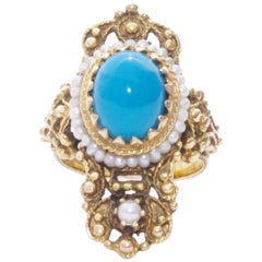 Victorian 18 Karat Yellow Gold Turquoise and Seed Pearl Filigree Cross Ring