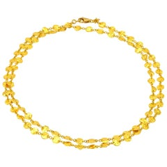 Long 24 Karat Yellow Gold Hammered Gold Coin Necklace
