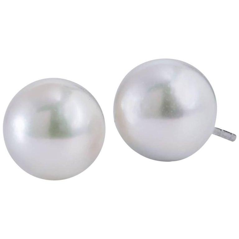 H & H 9 Millimeter Akoya Pearl Stud Earrings