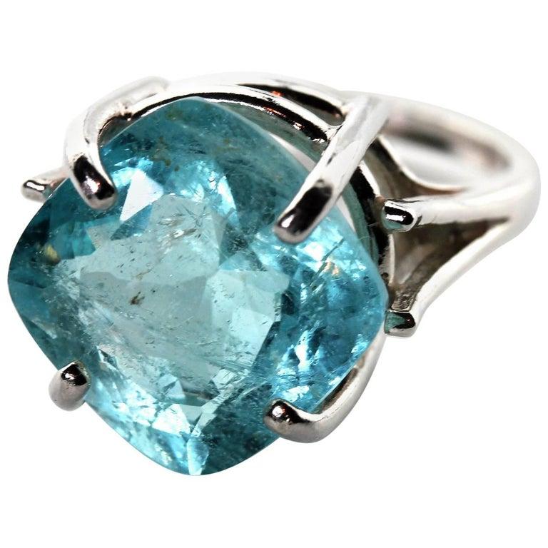 10.59 Carat Cushion Cut Square Aquamarine Sterling Silver Ring