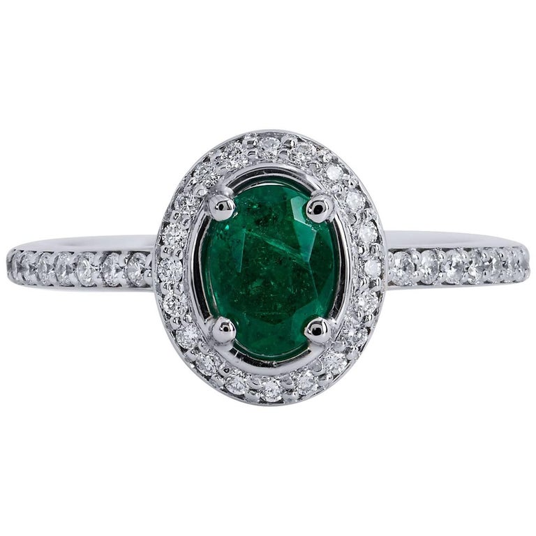0.64 Carat Zambian Emerald Diamond Palladium Cocktail Ring For Sale