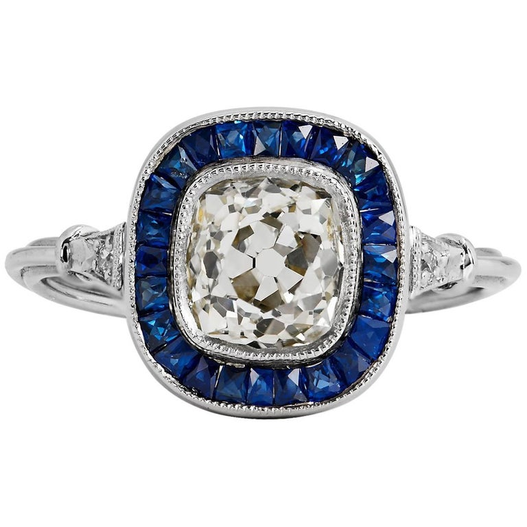 1.44 Carat Old European Cut Diamond Sapphire Platinum Ring