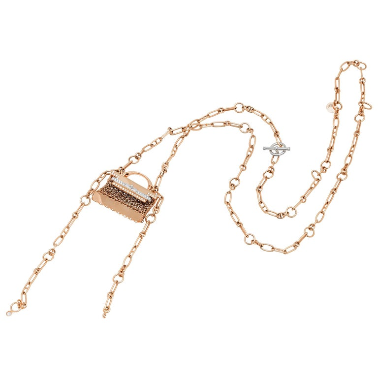 Hermes  Pink Gold and Diamond Handbag Necklace