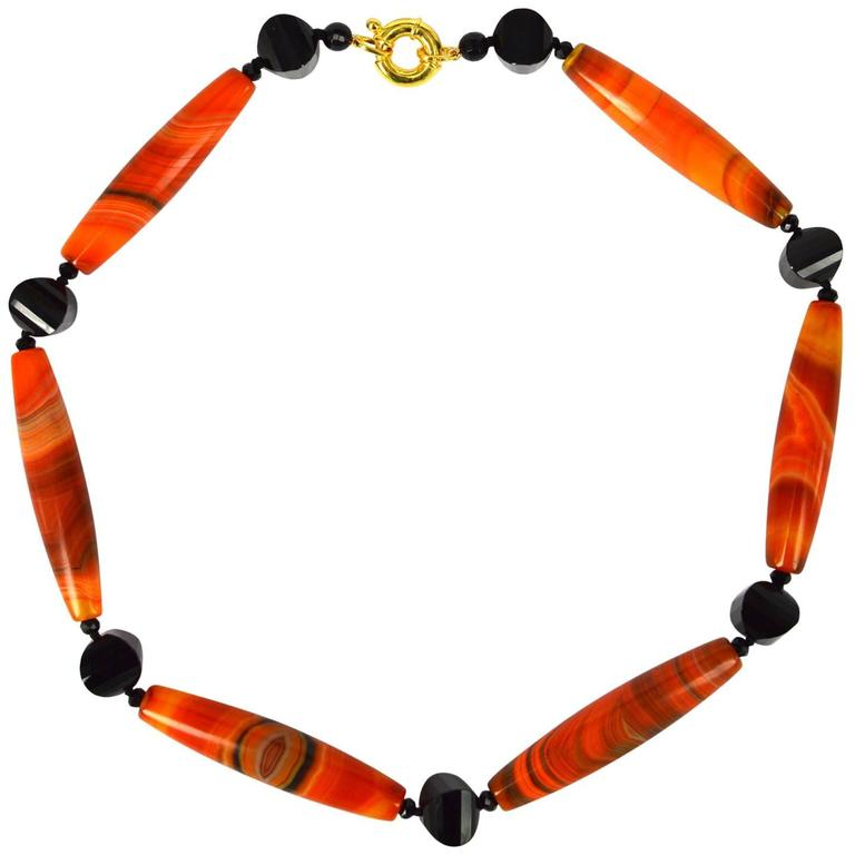 Decadent Jewels Orange Banded Agate Onyx Gold Necklace For Sale