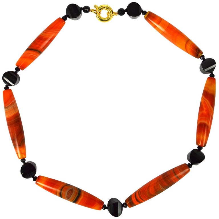 Decadent Jewels Orange Banded Agate Onyx Gold Necklace
