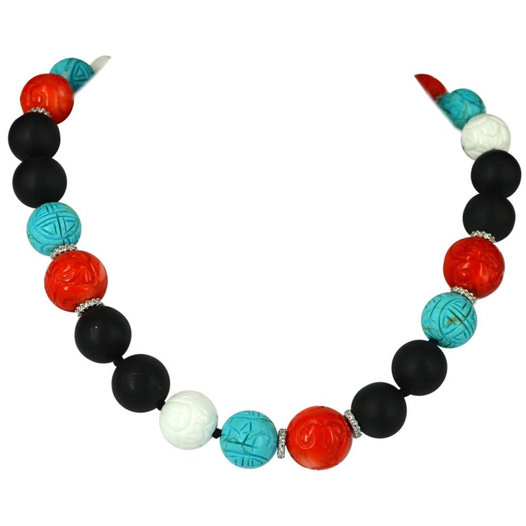Decadent Jewels Matt Onyx Carved Coral Shell Turquoise Silver Necklace