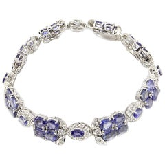 Diamond and Blue Sapphire Gold Bracelet