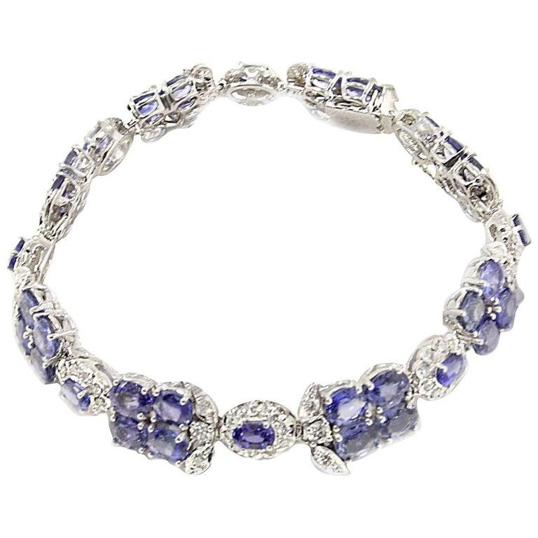 Diamond and Blue Sapphire Gold Bracelet