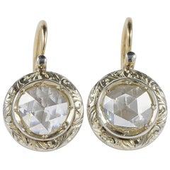 Authentic Edwardian 3.40 Carat Dutch Rose Cut Diamond Solitaire in Target Design