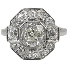 Vintage Engagement Ring, Old European Cut Diamond, Art Deco Style, circa 1900s