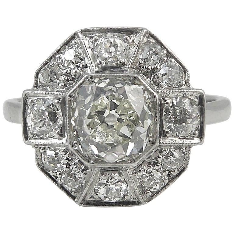 Vintage Engagement Ring, Old European Cut Diamond, Art Deco Style, circa 1900s