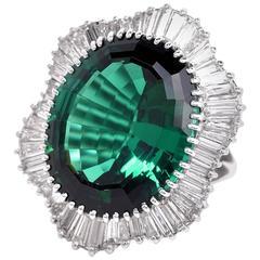 Grand 1960s Green Tourmaline Diamond Platinum Ballerina Cocktail Ring