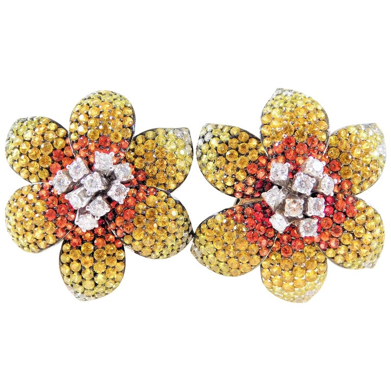 9.96ct Diamond Earrings with Yellow and Orange Sapphires