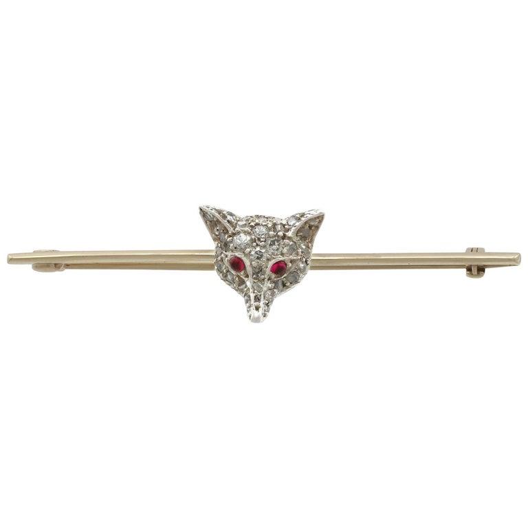 1890s Victorian Diamond and Ruby Yellow Gold 'Fox' Bar Brooch