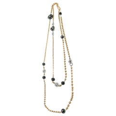 18 Karat Gold Black Diamond Long Necklace
