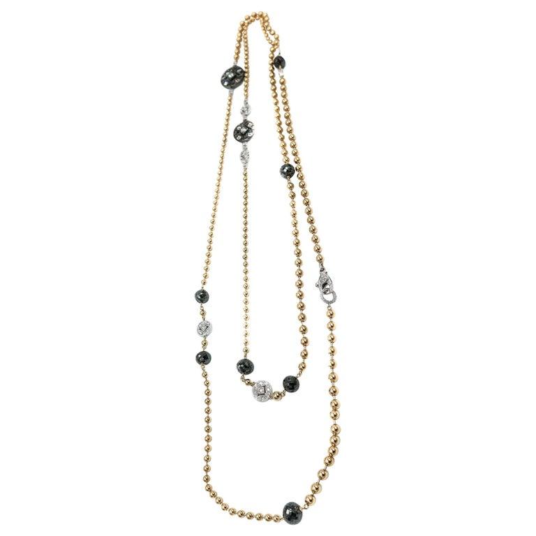 18 Karat Gold Black Diamond Long Necklace