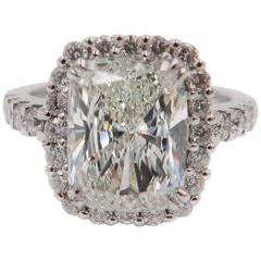 Cushion Shaped Diamond Platinum Halo Ring