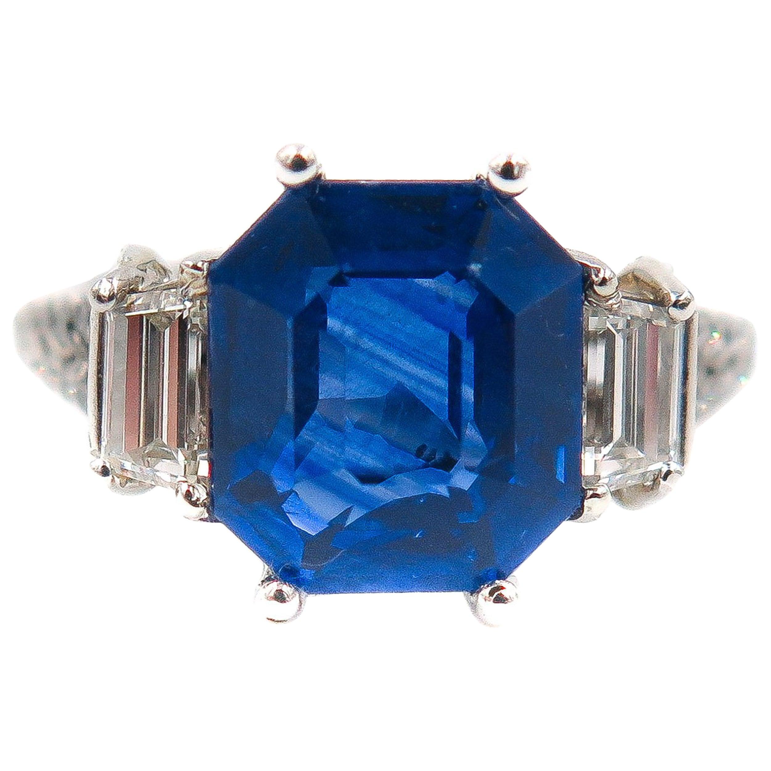 GIA Certified Sapphire and Diamond Platinum Ring