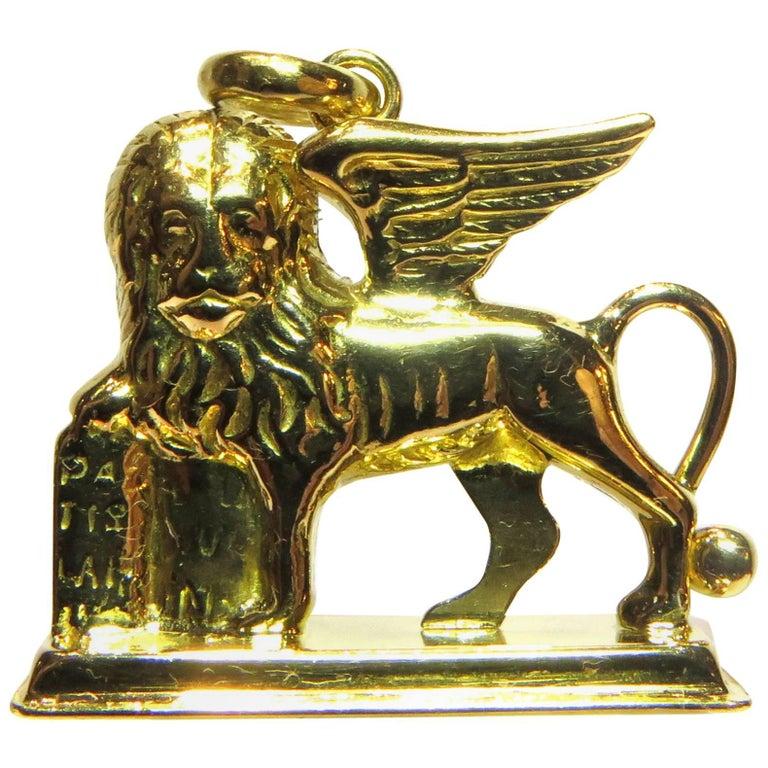 Superb Lion of Saint Mark Is a Symbol of Venice Gold Pendant Charm