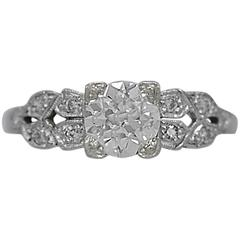 Art Deco .85 Carat Diamond Antique Engagement Ring Platinum