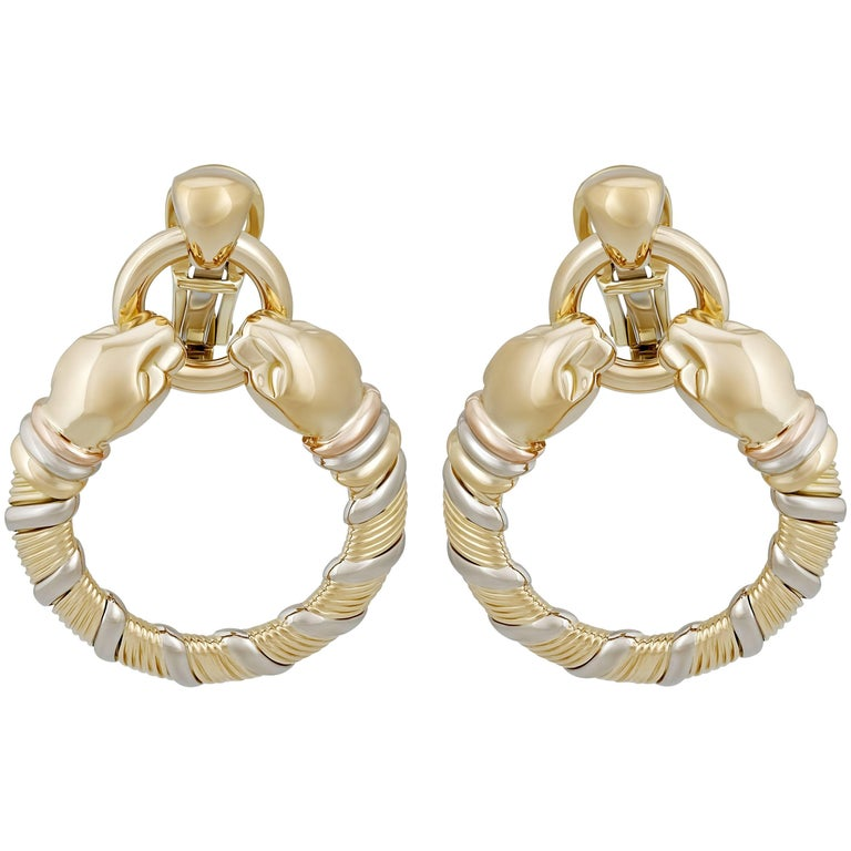 Cartier Yellow Gold and White Gold Panther Earrings