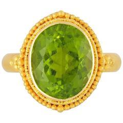 Granulated Gold and Peridot Ring