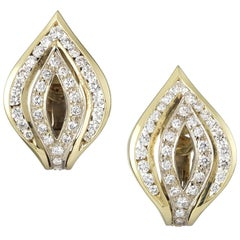White and Yellow Gold Chevron Earrings with Diamonds
