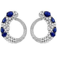 19.00 Carat Total Weight Ceylon Sapphire Diamond Earrings